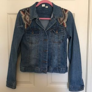 Roxy jean jacket with embroidery accents